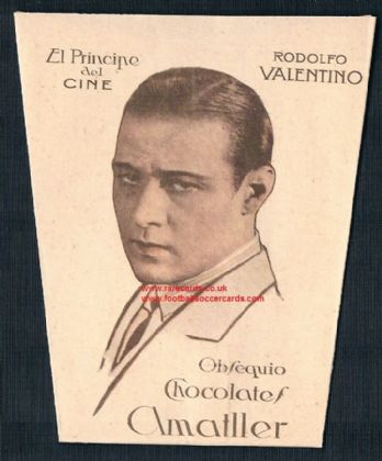 1920s Amatller Rudolph Valentino foldable choca cup card from Spain